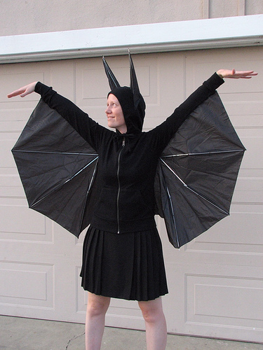 DIY Bat costume with umbrella wings