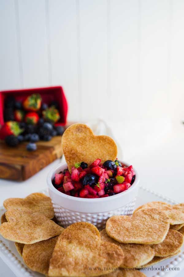 Heart shaped baked tortilla chips