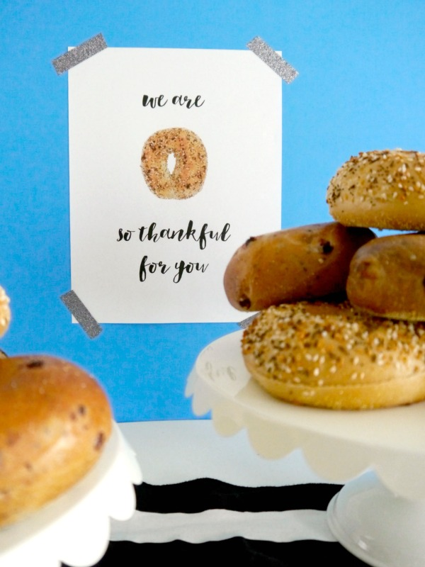 Bagels for teacher day! +free printable