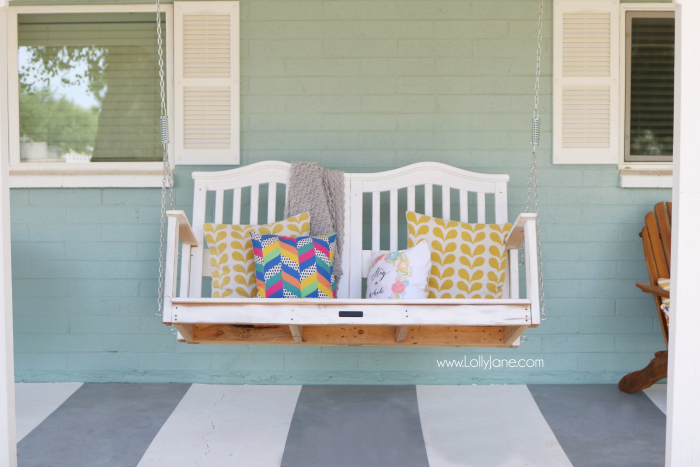 Crib turned porch swing