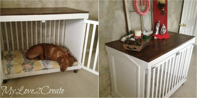 DIY dog crate out of a crib