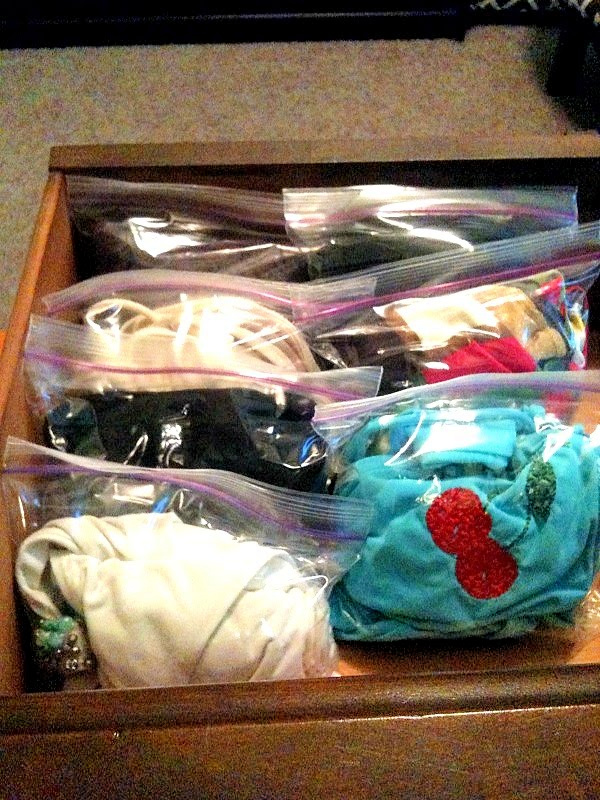 Organizing bathing suits