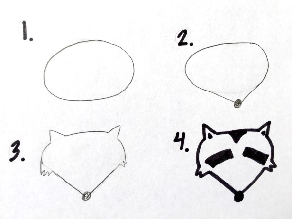 How to draw a raccoon head