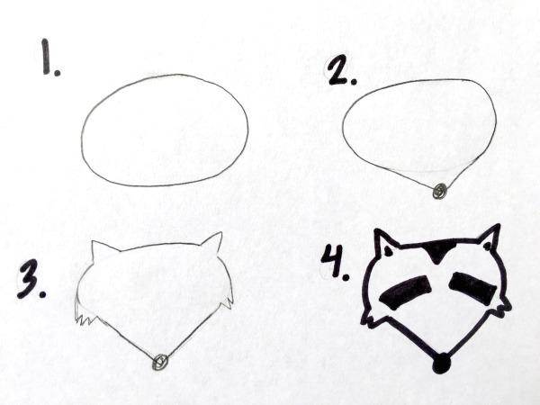 How to draw a raccoon head