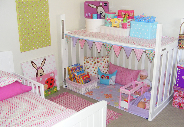 Turn a crib into a playhouse