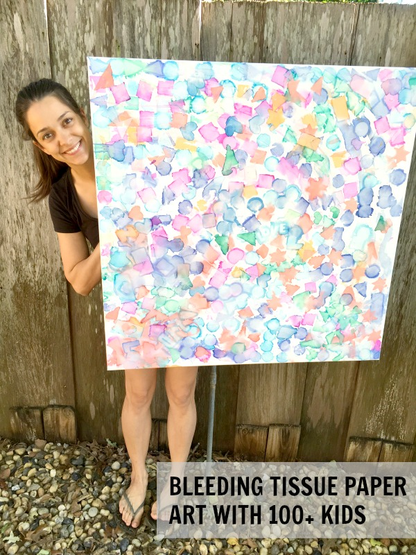 Tissue paper art with lots of kids!