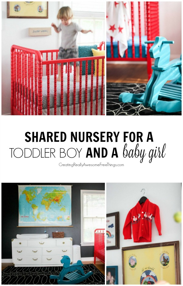 Max mila 39 s shared nursery c r a f t for Baby and toddler sharing bedroom ideas