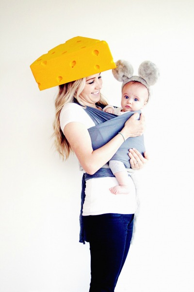 Cheese and mouse DIY baby wearing costume