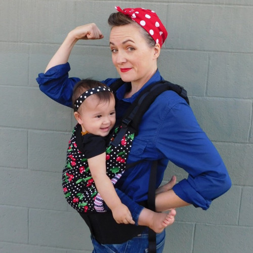 Baby carrier costume with rosie the riveter