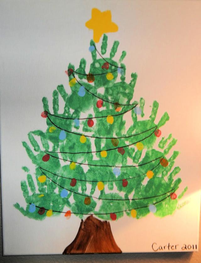 Karácsonyfa kéznyomat művészet