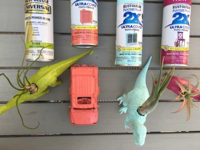 Plastic toy animal planters