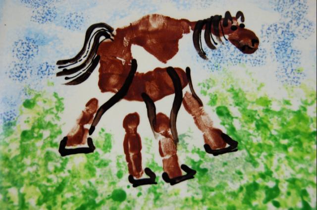 Kéznyomat ló kézműves