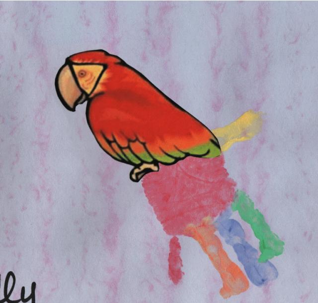 Papagáj kéznyomat művészet