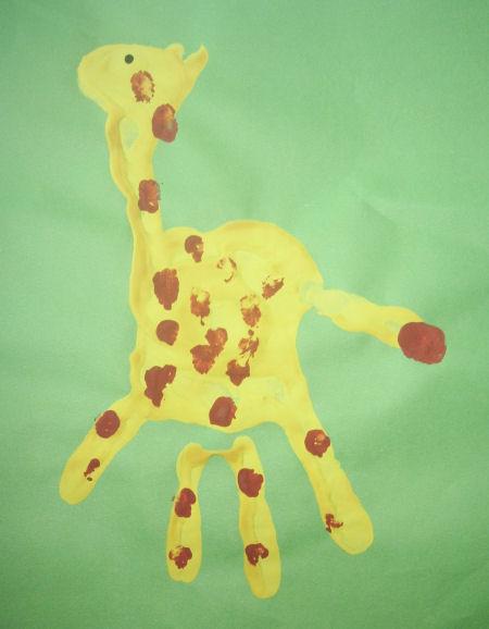 zsiráf kéznyomat kézműves