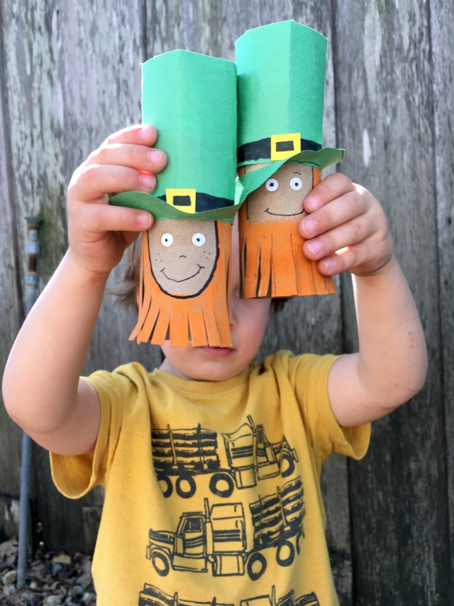 Toilet paper roll leprechaun crafts for St. Patrick's Day