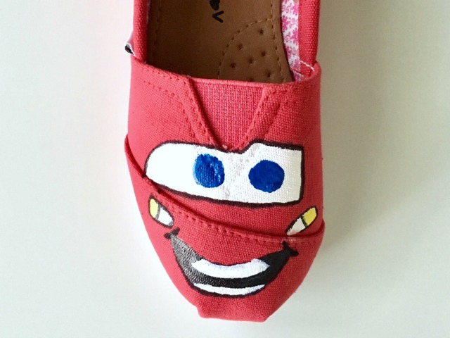 hand painted lightning mcqueen shoes