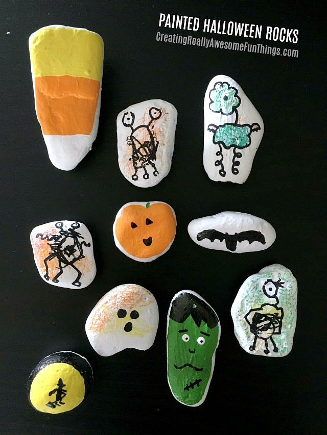 Kid-Painted-Halloween-rocks