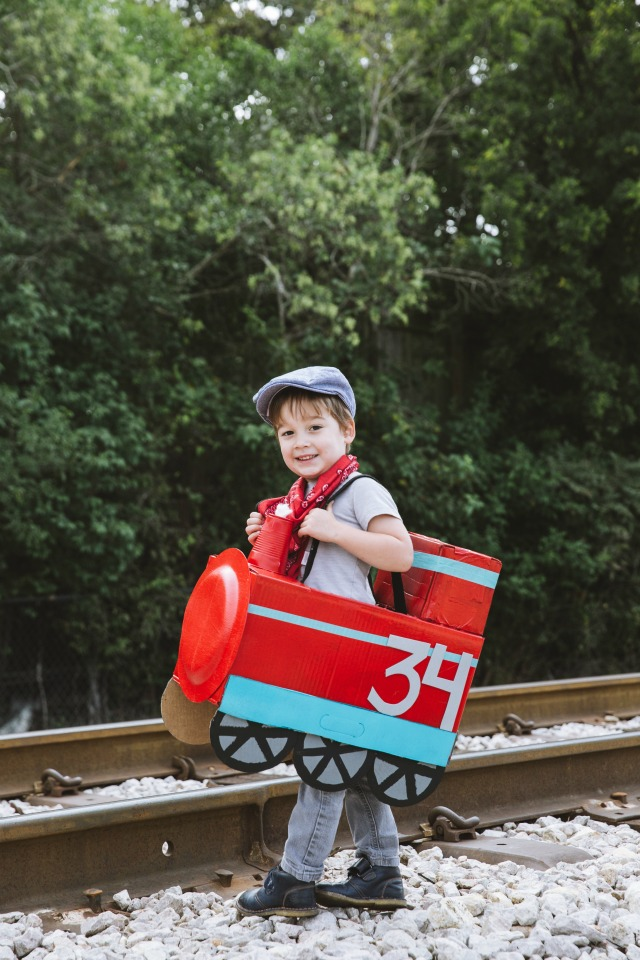 Cardboard box train costume