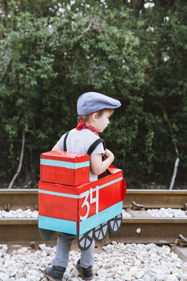 card board box train costume for kids