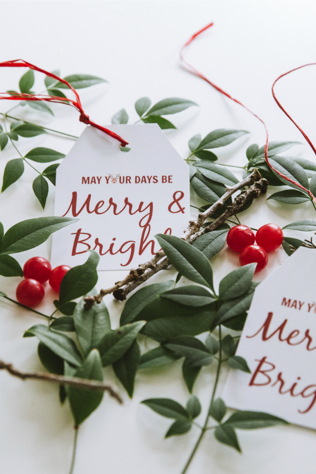Merry and Bright free printable Chrsitmas tags