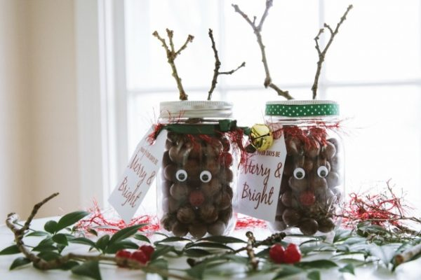 Rudolph nose mason jar gifts