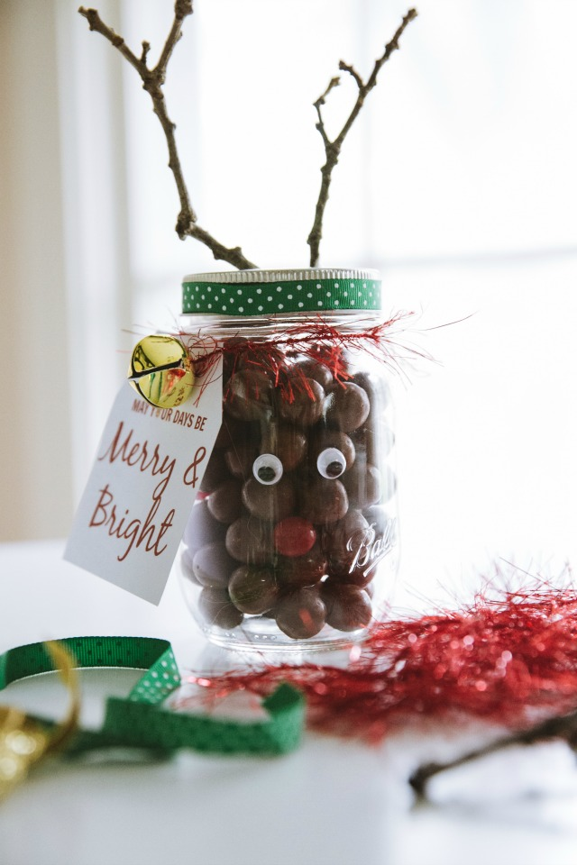 Rudolph nose mason jars
