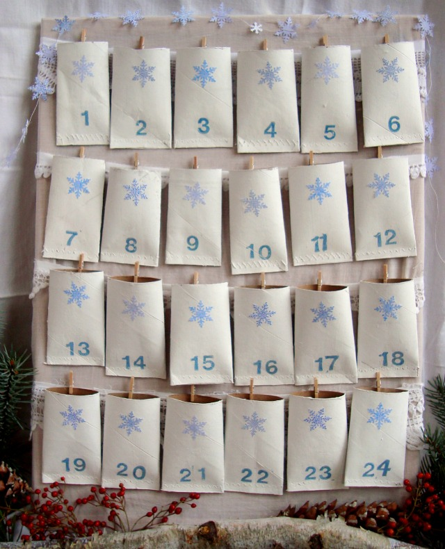 DIY advent calendar made out of tp tubes