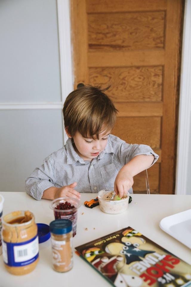 Healthy kid snack yogurt and peanut butter