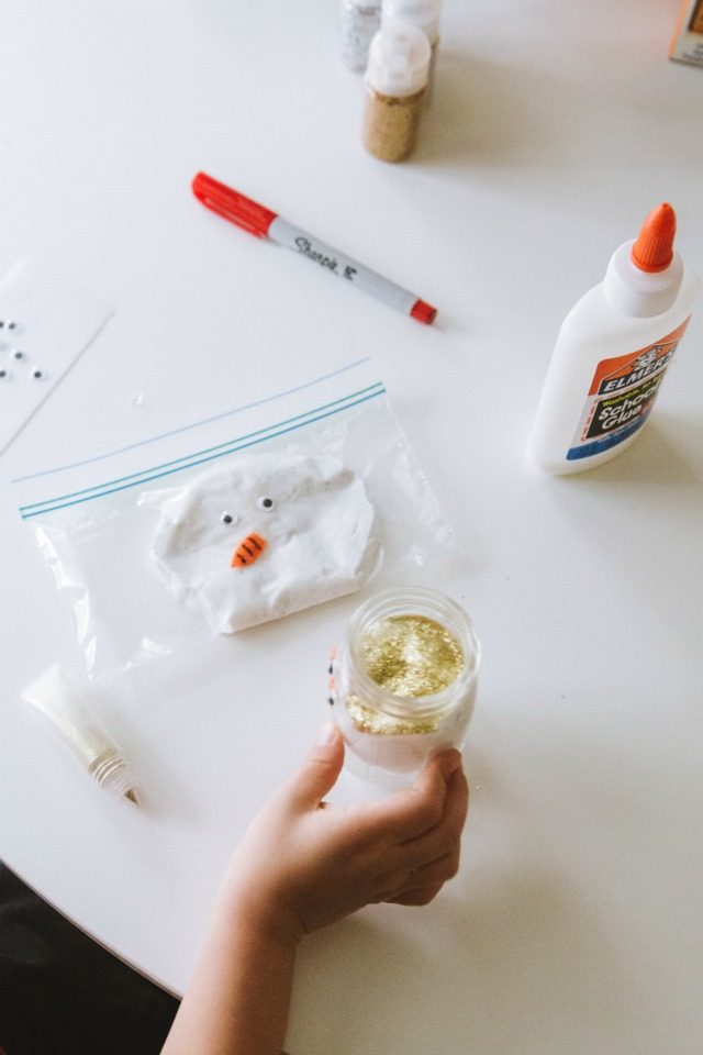 Snowman slime in zip lock bags