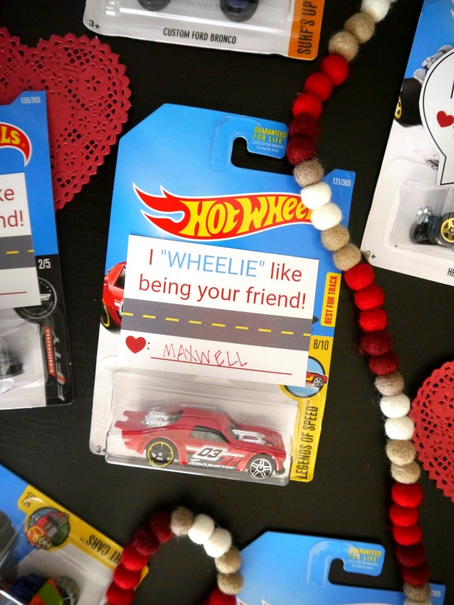 Hot wheel car valentines