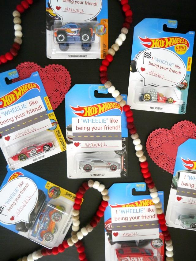Matchbox car valentines for kids