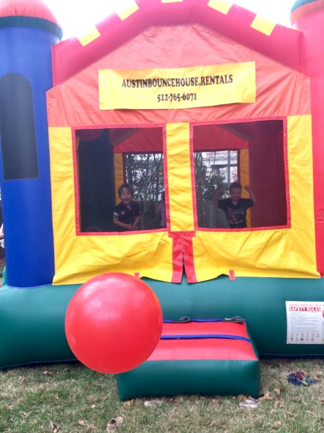 bounce house backyard birthday for kids