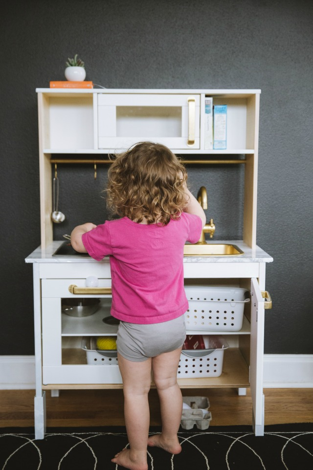 Ikea play kitchen hack with marble counter