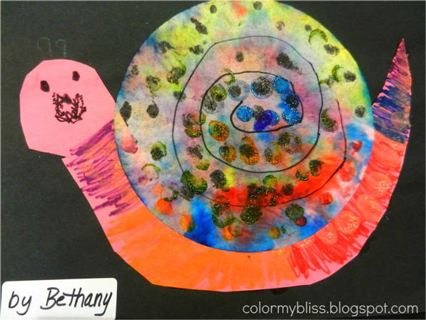 Coffee filter snail craft for kids