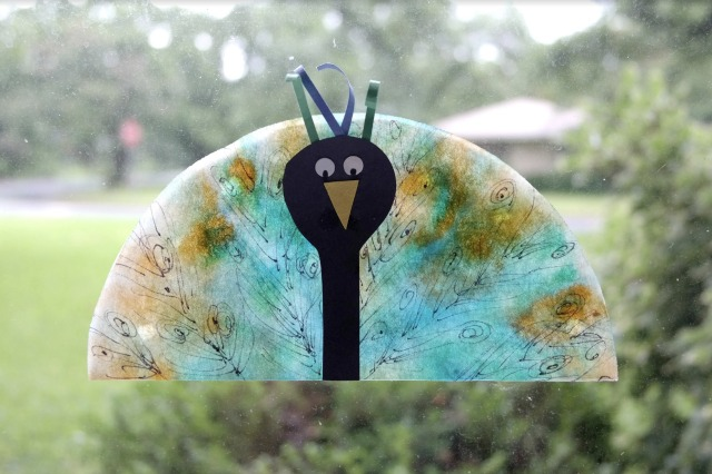 Peacock coffee filter craft