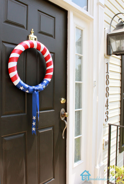 4th of July pool noodle wreath