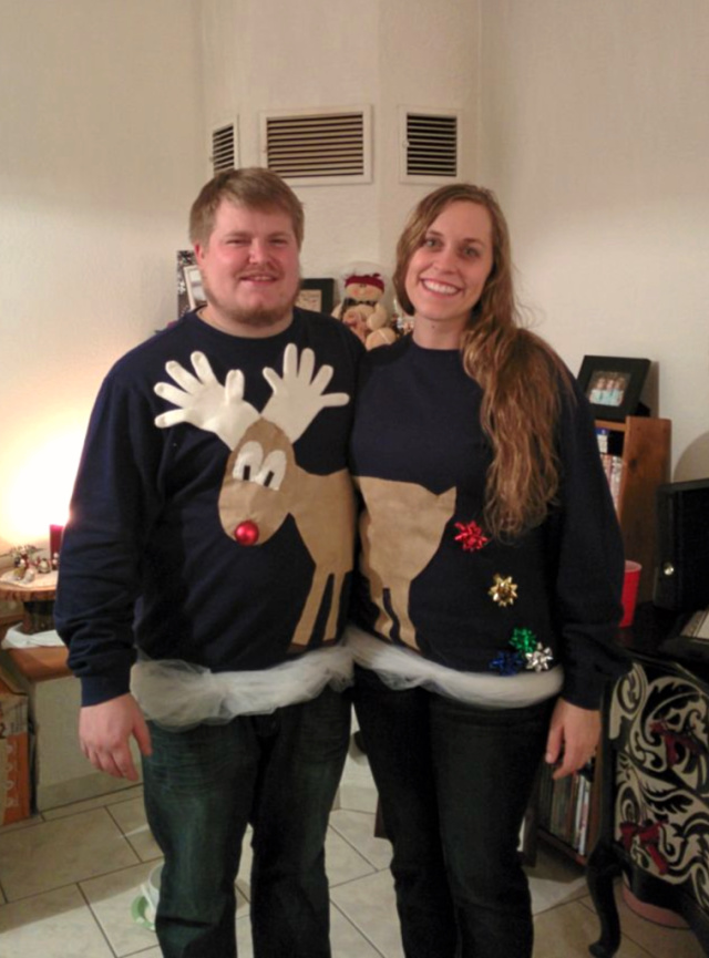 Couples ugly christmas sweaters