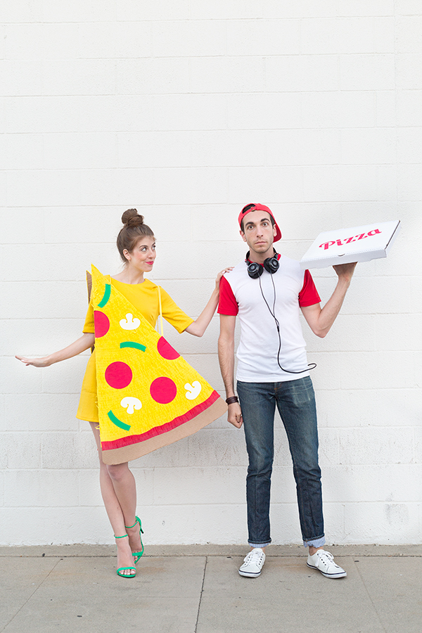 Slice of pizza and pizza delivery costume