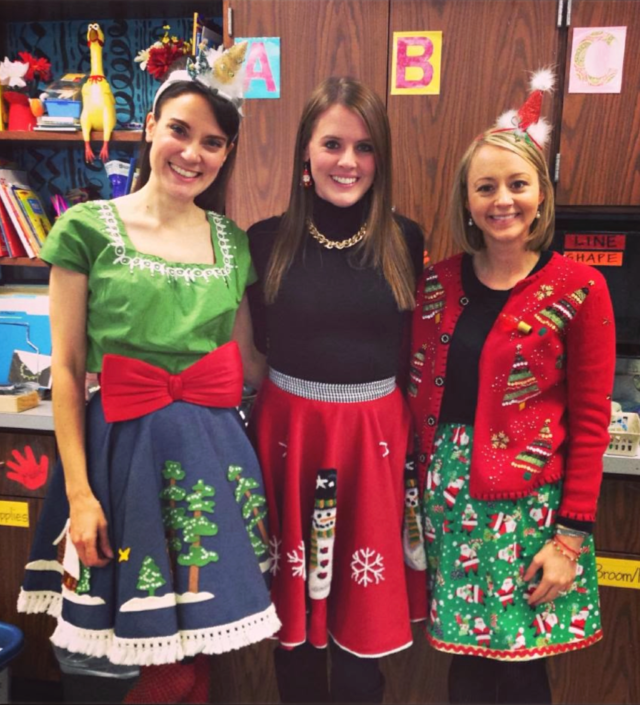 Tree skirts as ugly sweater dresses