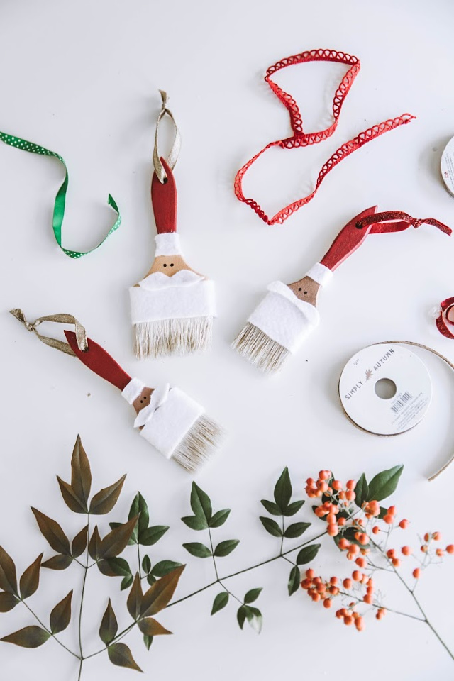 DIY santa paintbrush ornament