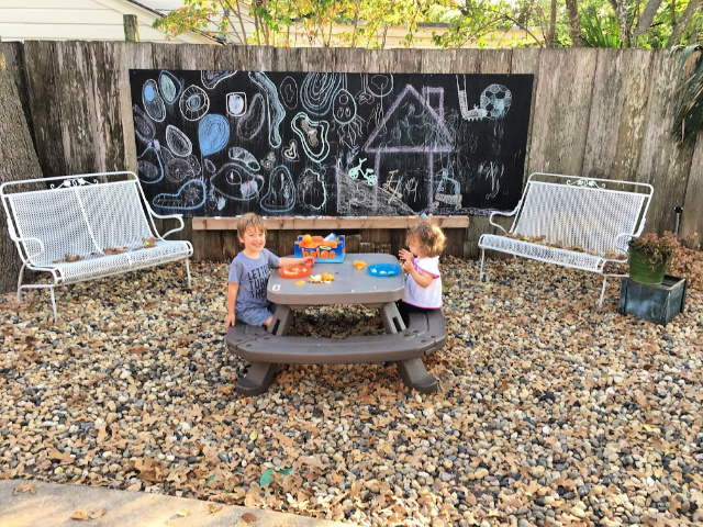 DIY chalkboard and patio