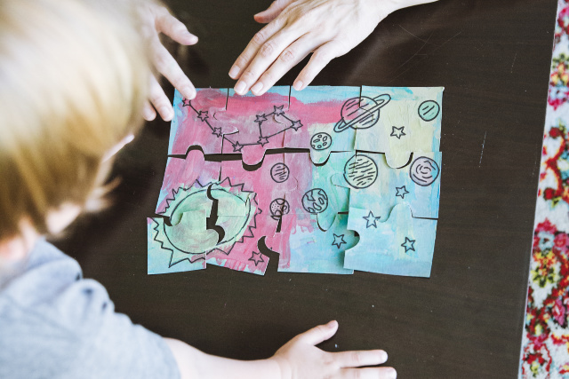 DIY puzzle craft with kids