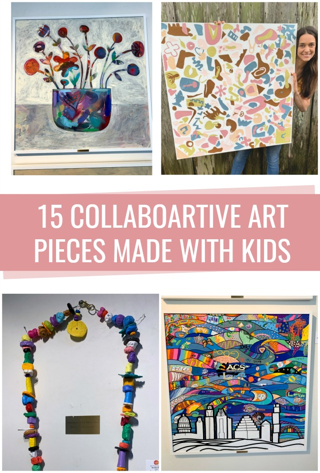 15 Collaborative art pieces made with kids