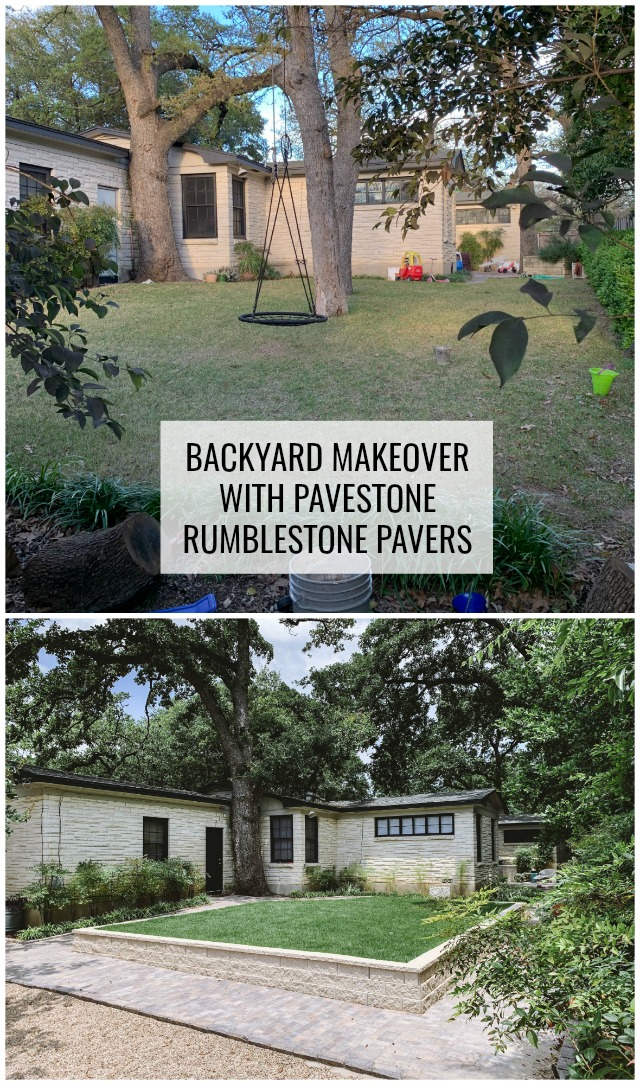 Backyard makeover with pavestone rumblestone pavers