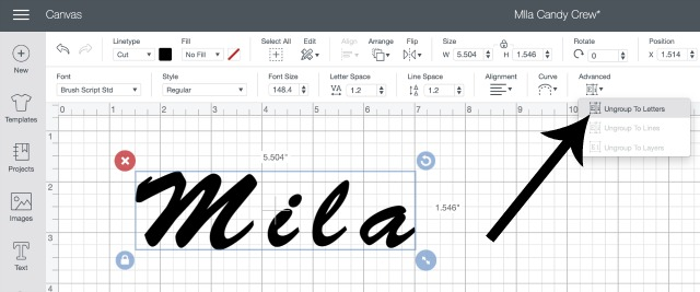 How to make letters closer together in Cricut Design