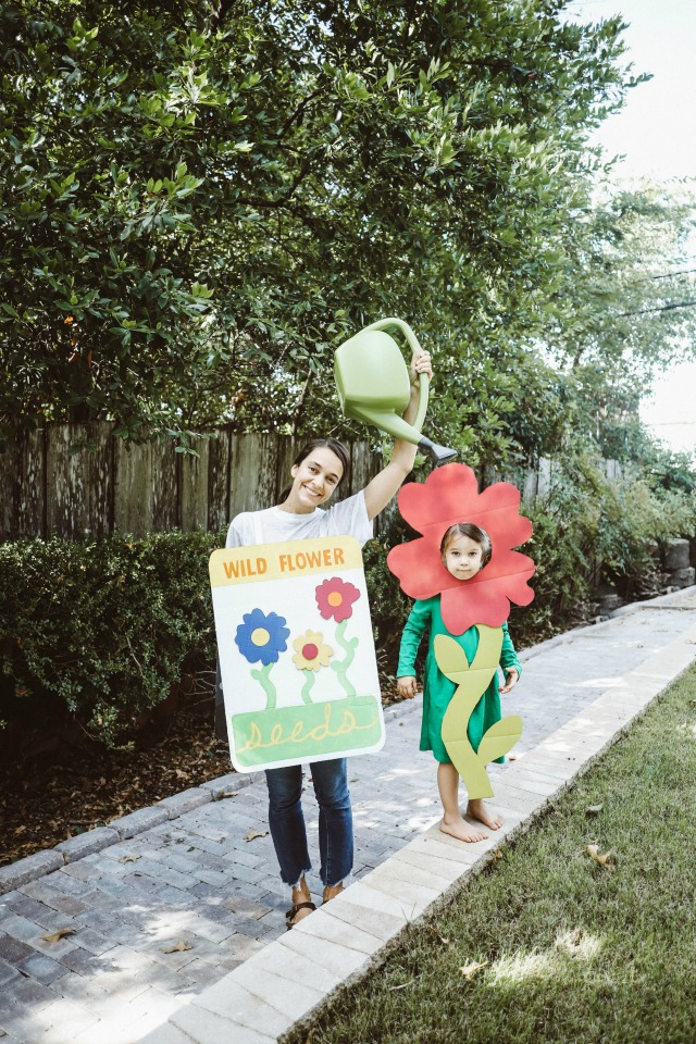 DIY Seed packet and flower costumes for mom and daughter