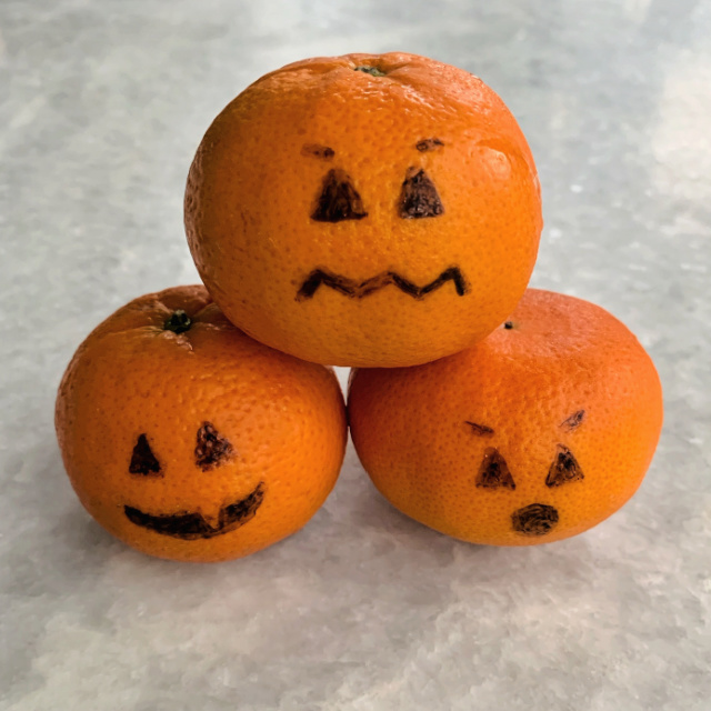 Oranges with pumpkin faces