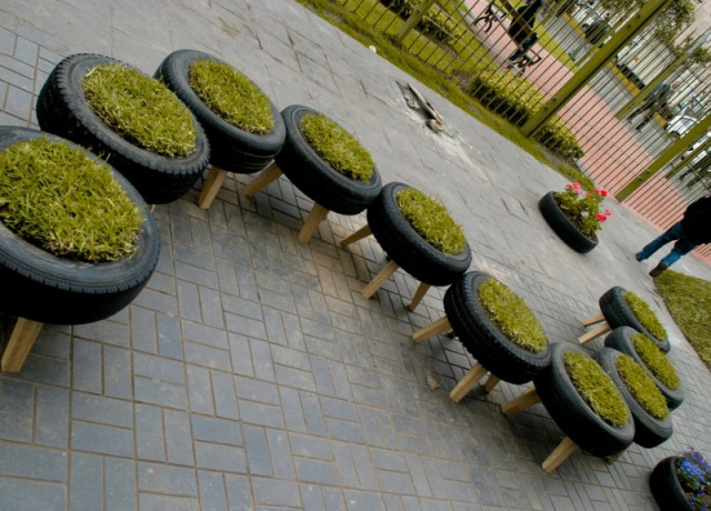 Grass bench made of tires