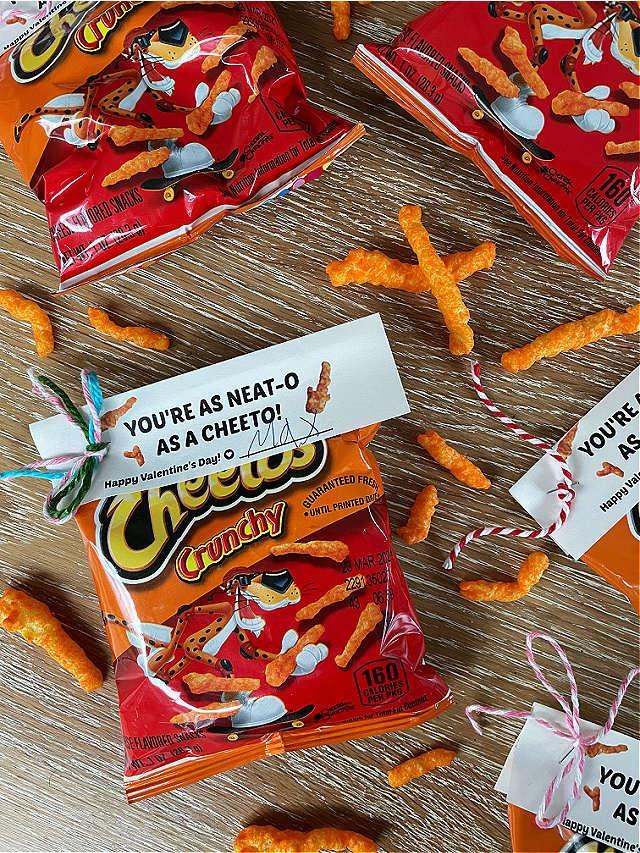 Free printable Valentine with Cheetos