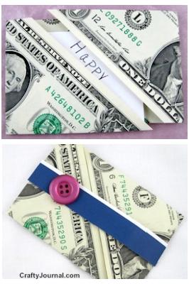 Dollar bill gift card holder